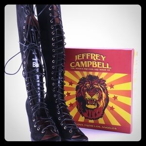 Jeffrey Campbell knee high lace up peep toe boots