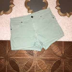 Urban Outfitters Erin High Rise Pale Green Shorts