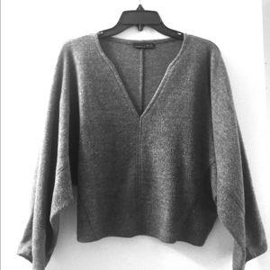 Zara Deep V Cropped Grey Sweater Size S
