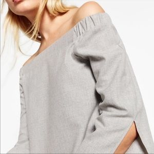 ZARA Off the shoulder grey shirt