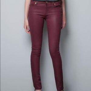 Zara Faux Leather Skinny Pants Maroon size 2