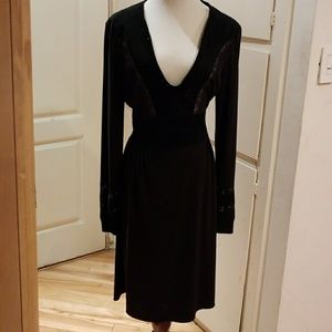 BCBG dress size L black with suede leather