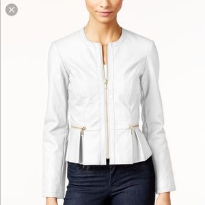 INC Macy's Faux-Leather Peplum Moto Jacket Small