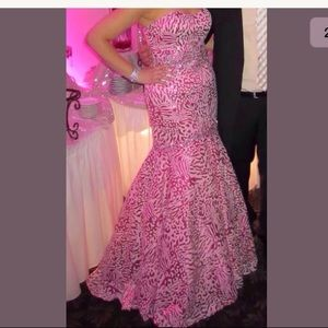 Colors Prom Mermaid Pink Sequin Embellished Gown