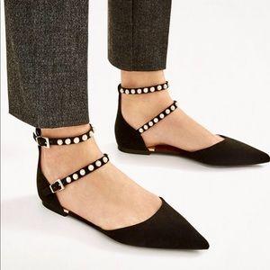 Zara flats with beaded straps