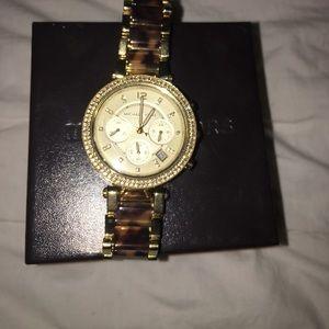 Women's Gold tortoise shell Michael Kors Watch