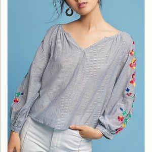 Gorgeous Anthropology Embroidered Soleil Top