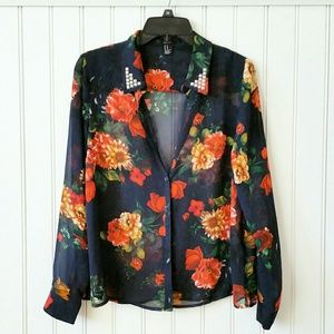Fall Florals Chiffon Blouse with Studded Collar