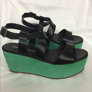 Black and green platform sandals