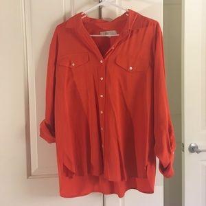 Orange button down blouse