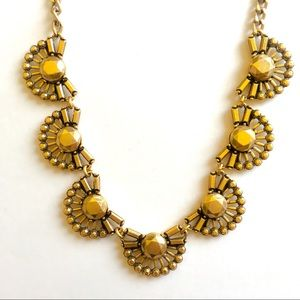 Jcrew gold pleated statement necklace