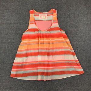Meadow Rue anthro orange sleeveless split back top