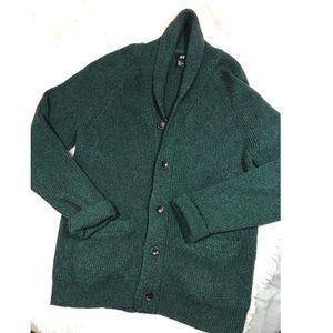 {H&M} wool blend Cardigan buttoned emerald green