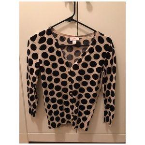 Loft Polka Dot Cardigan Sweater