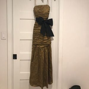 BCBGMAXAZARIA Olive colored floor length gown.