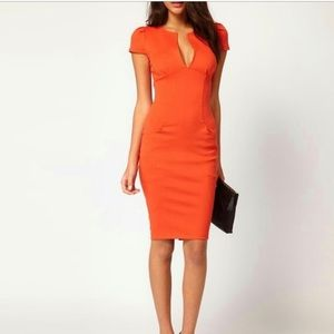 ASOS Midi Orange Plunge Bodycon Dress Pockets