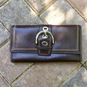 Coach Soho brown leather trifold wallet