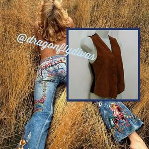 Vintage 80s Hippie Caramel Calfskin Leather Vest