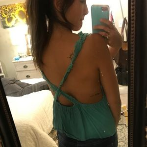 Teal urban backless top