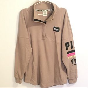 VS PINK Brown Quarter Snap Sweater