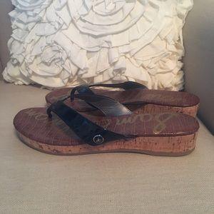 NEW Sam Edelman black wedge sandals