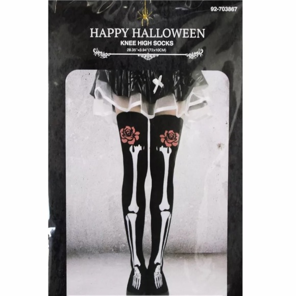 5f50267bc8a Skeleton Bones Halloween Thigh Highs Sexy Costume