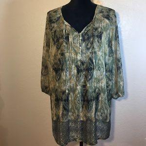 LIZ CLAIBORNE WOMAN Tunic in Moss Green/Tan/Black