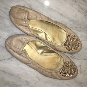 Tahari nude ballet flats with gold accent