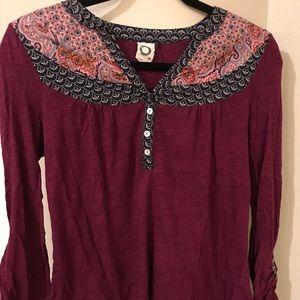 Purple anthro long sleeve shirt