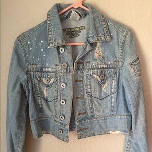 Distressed denim crop jacket