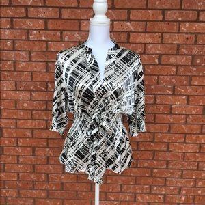 BCBG MAXAZRIA Black & white top