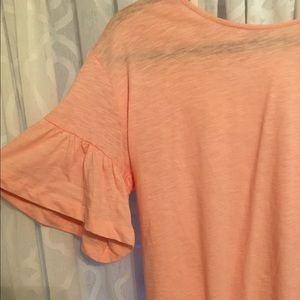 Zara flutter sleeve pink top