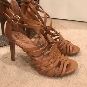Vince Camuto tan leather strappy sandals