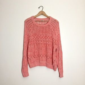Ecote pink and white open stitch sweater