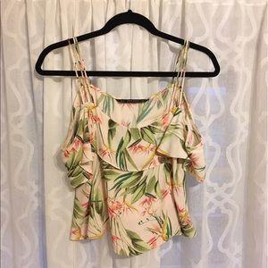 Zara off the shoulder cold shoulder floral top