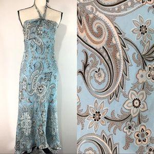 Ann Taylor Blue Paisley Silk Halter Tie Maxi Dress