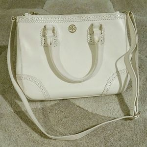 Tory Burch ivory double zip saffiano bag