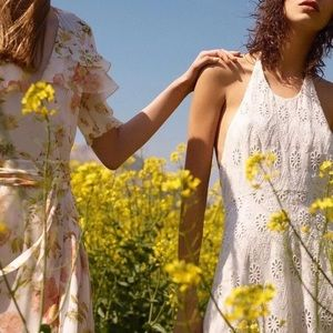 NWT Zara Off-White Embroidered Midi Halter Dress
