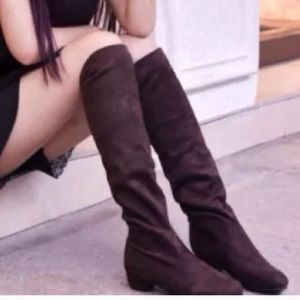 Black Suede-like Knee high Boots