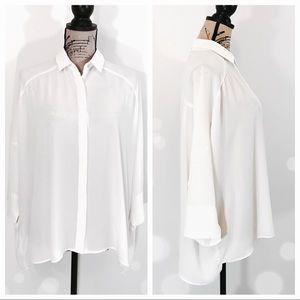 Zara Basic Cream White Button Down Blouse Top