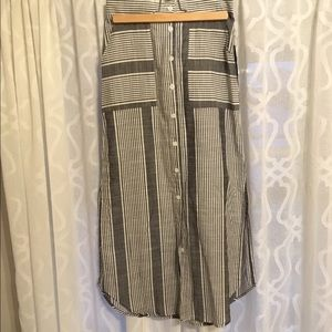 Lulus striped button front midi skirt