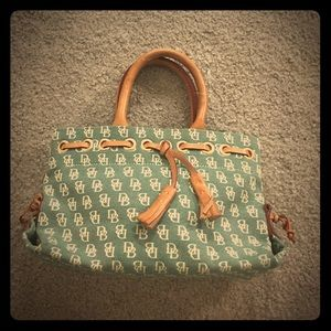 Dooney and bourke tan green satchel leather fabric