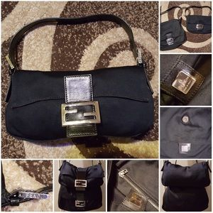 Matching Fendi Baguette and hobo black  satin