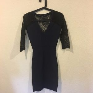 French Connection v neck black lace dress