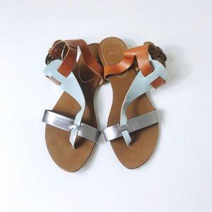 Metallic & Leather Sandals