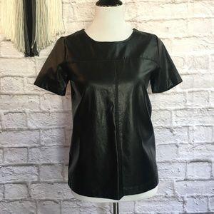 Black Faux Leather Short Sleeve Blouse