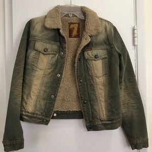 7 For All Mankind Sherpa Lined Denim Jacket Sz XS