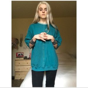 80s VTG Slouchy Teal Knit Pullover