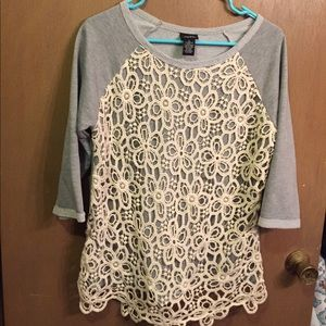 Women's 3/4 sleeve sweater with front Lace detail