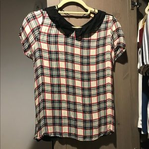 Zara Plaid Top Size Small